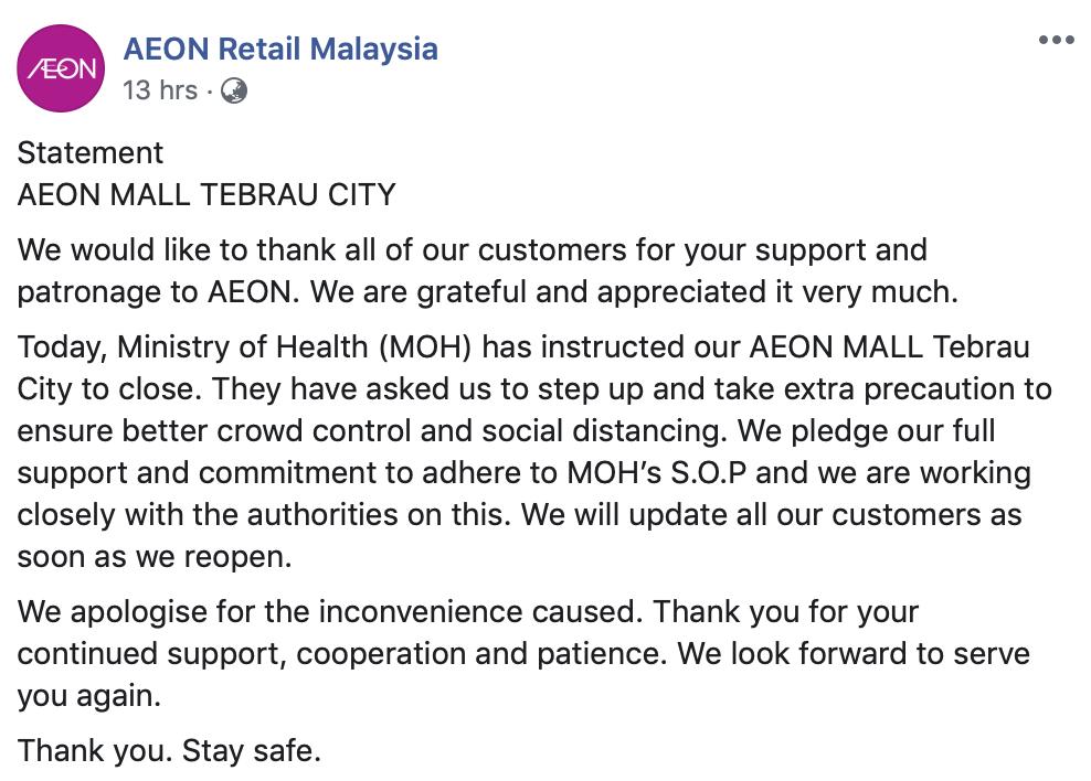 AEON Mall Tebrau City Close