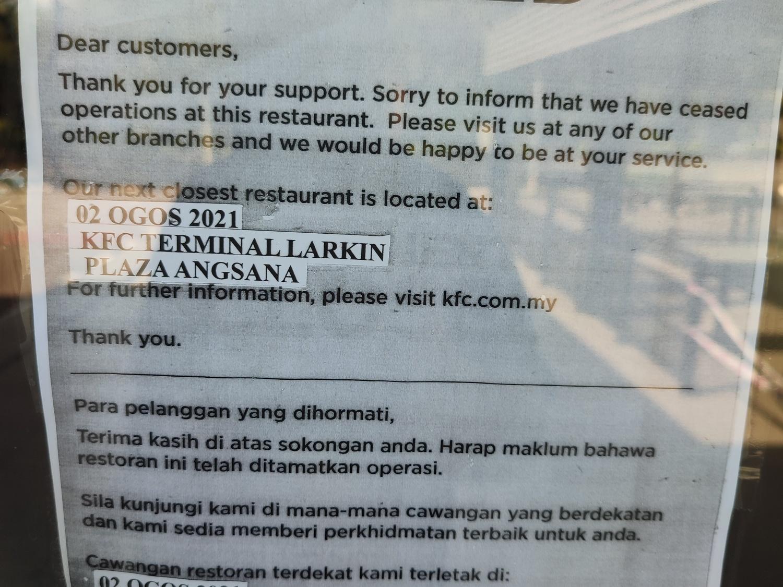 KFC Damansara Aliff Jalan Tampoi Closed